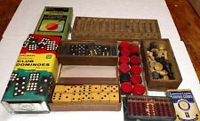 BIG LIT OF VINTAGE GAMES ABACUS DOMINOES CHECKERS CHESS PIECES  CARDS MONGOL