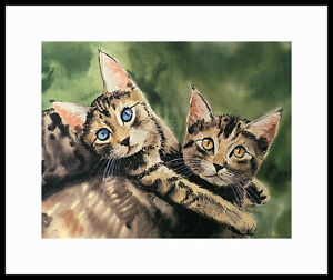 """BEST FRIENDS"" TABBY KITTENS MATTED ARTIST'S PROOF BY DREW STROUBLE CATMANDREW"