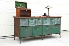 Antique Store Counter Kitchen Island Workbench green metal table wood cabinet