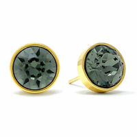 Stud Earrings with Black Diamond Round Crystals from Swarovski Gold Plated