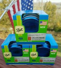 3 Boxes Ball Regular Mouth Lids w Bands Collection Elite Color Series Blue - 18