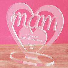 Personalised Heart with Message Ornament Keepsake Birthday Mam Mothers Day Gift