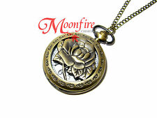 BEAUTY AND THE BEAST ENCHANTED ROSE POCKET WATCH NECKLACE TALE AS OLD AS TIME
