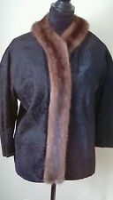 VTG JACQUES GRIFFE Couture Black Jacket Mink Fur VOGUE Paris France Medium