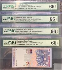 1996-99 Malaysia 2 Ringgit 1st Prefix 4pc Running Low no. - Gem Unc PMG66 EPQ