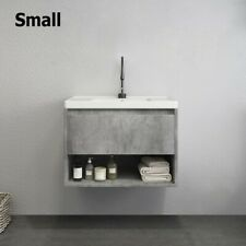 """Homary Wall Mounted 24"""" Bathroom Vanity Ceramic Sink with Drawer & Shelf in Gray"""