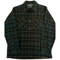 Pendleton Mens Vintage Wool Green Plaid Flannel Button Up Shirt USA Size Medium