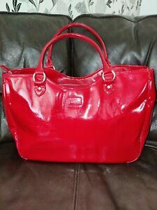 Lulu Guinness Large Red Patent Leather  Wanda Bag Handbag