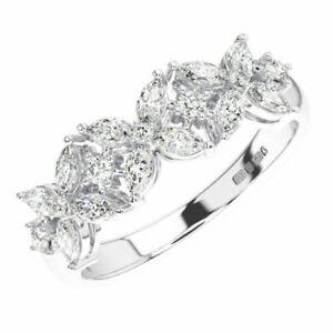 0.60 Ct Claw Set Round & Marquise Cut Diamond Wedding Ring in 950 Platinum