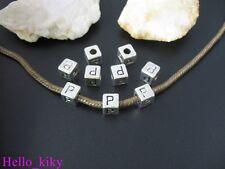 40 pcs Tibetan silver letter P cube beads A494