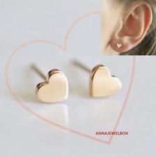 Para Mujer Color Oro Cristal Corazón Semental Pendientes Perforación Nupcial Rhinestone UK