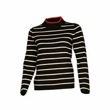 Ex M/&S Pale Grey Charcoal Block Stripe Ribbed Womens Jumper Size 6-26