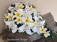 Silk Wedding Bouquet Set - Lily & Frangipani - Artificial Flower - Teardrop Posy