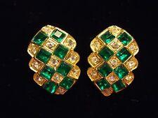 Vintage Super Sparkle Emerald Green & Clear Rhinestone Cluster Clip Earrings