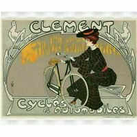 Clement Cycles Cycling Poster Vintage Bicycling Art Poster -Misti 1904