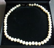 NECKLACE LARGE PEARL STRING CHOKER SILVER CLASP 44cm LENGTH BOXED