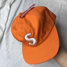 "Supreme New York ""S"" Logo 6 Panel Cap Hat Orange White"