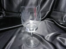 """Vintage #10784 Water Goblet Frosted Flowers Stars Grey Cut Clear 6 3/8"""" T"""