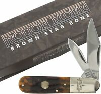 Rough Rider Brown Stag Bone Barlow Pocket Knife RR1806 2 Folding Blades