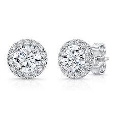 1.21 Ct Diamond Stud Earrings Solid 14K Hallmarked White Gold Round Cut