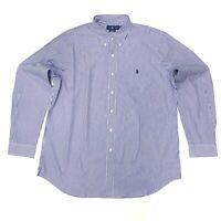 Ralph Lauren Men's Striped 100% Cotton Stretch Shirt In Size XXL/TTG Blue/White