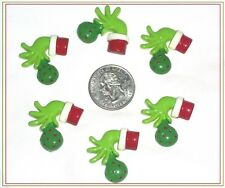 6 PC CHRISTMAS GRINCH HANDS FLATBACK FLAT BACK RESINS HAIR BOW CENTERS