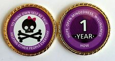 Alcoholics Anonymous 1 Year Skull and Bow Rope Edge Sobriety Coin Chip 1 3/4""