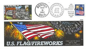 2276 22c Flag & Fireworks, Collins hand painted cachet [072321.434]
