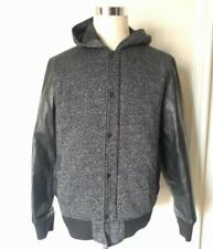 Tony Hawk Men's L Black Vegan Leather Sleeves Zipper Lined Hoodie Jacket EUC
