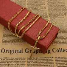 Herren Kette Halskette Anhänger Kreuz Gold Edelstahl Silber Jesus Kreuzkette