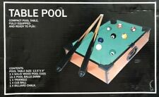 """COMPACT POOL TABLE Game TABLE TOP  21"""" Size Cue Sticks Balls Brush and Chalk NM"""