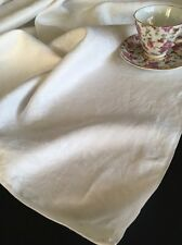 Vintage White Damask Linen Tablecloth