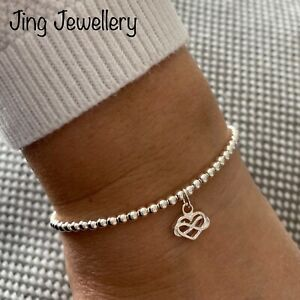 Sterling Silver Beaded Stretch Stacking Bracelet With Infinity Heart Charm 925