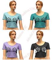 Ladies Brand New Hand Print Womens Short Sleeves Belly Crop Top T-Shirt UK 8-12