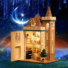 DIY Wooden LED Light Assembled Doll House Moonlight Castle Miniature Kit Gift