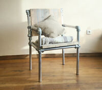 Sessel Industrie Stil Modell Egmond Stuhl mit Armlehne Gerüst Möbel Bauholz