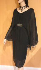 BLACK SILVER BEADS DRESS Cocktail Party SHEER FLUTTER SLEEVES 2x 3x PLUS SIZE 22