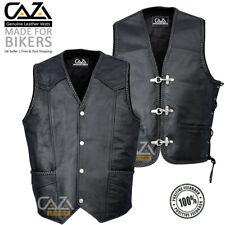 NV UOMO VERA PELLE da Motociclista Gilet Pesce Gancio Buckle-Lati intrecciato lacci Vest
