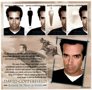 St. Vincent 2000 - SC# 2817 David Copperfield, Magic - Sheet of 4 Stamps - MNH