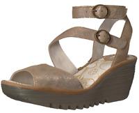 Fly London Yisk LUNA Gold Camel Leather Ankle Strap Wedge Sandals 9-9.5 EU 40