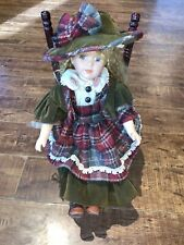 Vintage Porcelain Doll With Rocking Chair Good Condition.