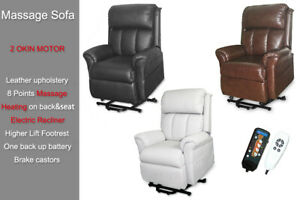 2 OKIN Motor Recline Electric Lift Chair Armchair Sofa Heat Massage Real Leather