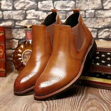 Handmade Mens brogue Tan ankle leather boot, Men Tan leather Chelsea boots