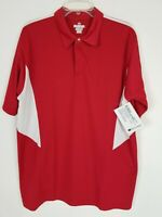 Holloway Dry Excel Short Sleeve Polo Shirt Size Large Red White Golf Athleisure