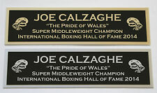 Joe Calzaghe nameplate for signed boxing gloves trunks photo