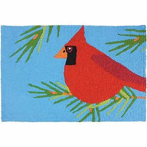 Cardinal Perched in Pines Accent Rug