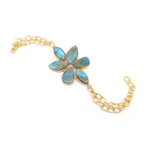 """Gorgeous Turquoise Gemstone Gold Plated Friendship Bracelet 7"""" To 8"""" R918"""