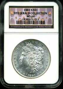 1881-S $1 Morgan Silver Dollar MS64 NGC 1834511-111 Fitzgerald Collection