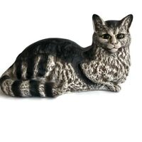 """Vintage Hand-Painted Ceramic Cat Figurine 13"""" Lying Down Statue Made in Portugal"""
