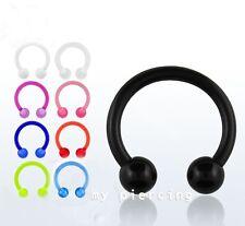 "2pcs 16g 5/16"", 3/8"" Acrylic UV Horseshoe Circular Barbell Earring Labret Septum"